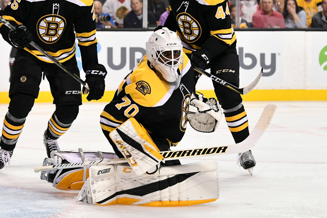 Sep 25, 2017; Boston, MA, USA; Boston Bruins goalie Malcolm Subban (70) watches the play against the Chicago Blackhawks at the TD Garden. Mandatory Credit: Brian Fluharty-USA TODAY Sports