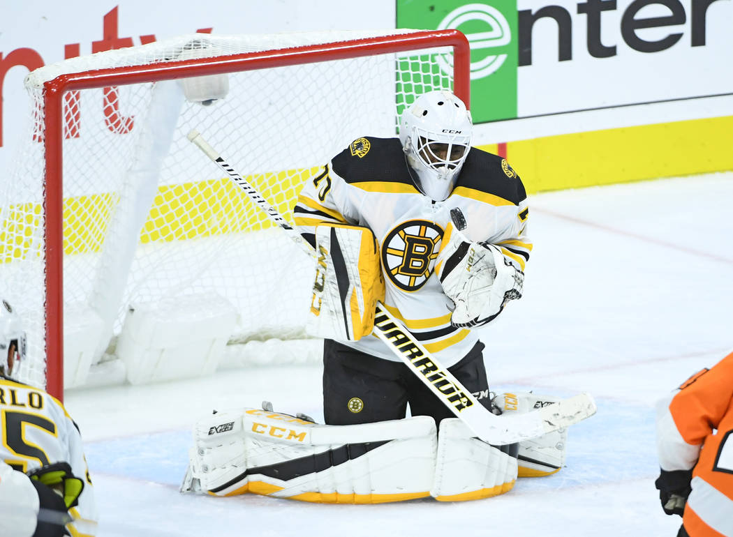 Sep 28, 2017; Philadelphia, PA, USA; Boston Bruins goalie Malcolm Subban (70) makes a save against the Philadelphia Flyers during the third period at Wells Fargo Center. Mandatory Credit: Eric Har ...