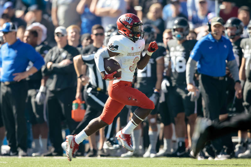 Oct 14, 2017; Colorado Springs, CO, USA; UNLV Rebels running back Lexington Thomas (3) runs for a touchdown in the first quarter against the Air Force Falcons at Falcon Stadium. Mandatory Credit:  ...