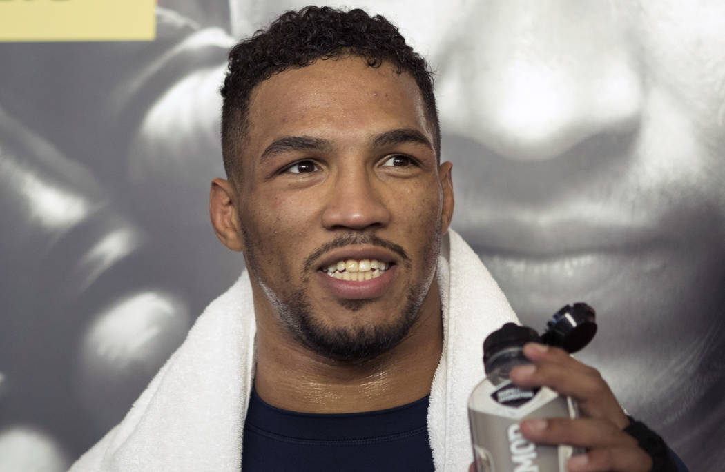 UFC lightweight contender Kevin Lee with media at the T-Mobile Arena for UFC 216 open workouts in Las Vegas, Thursday, Oct. 5, 2017. Heidi Fang Las Vegas Review-Journal @HeidiFang