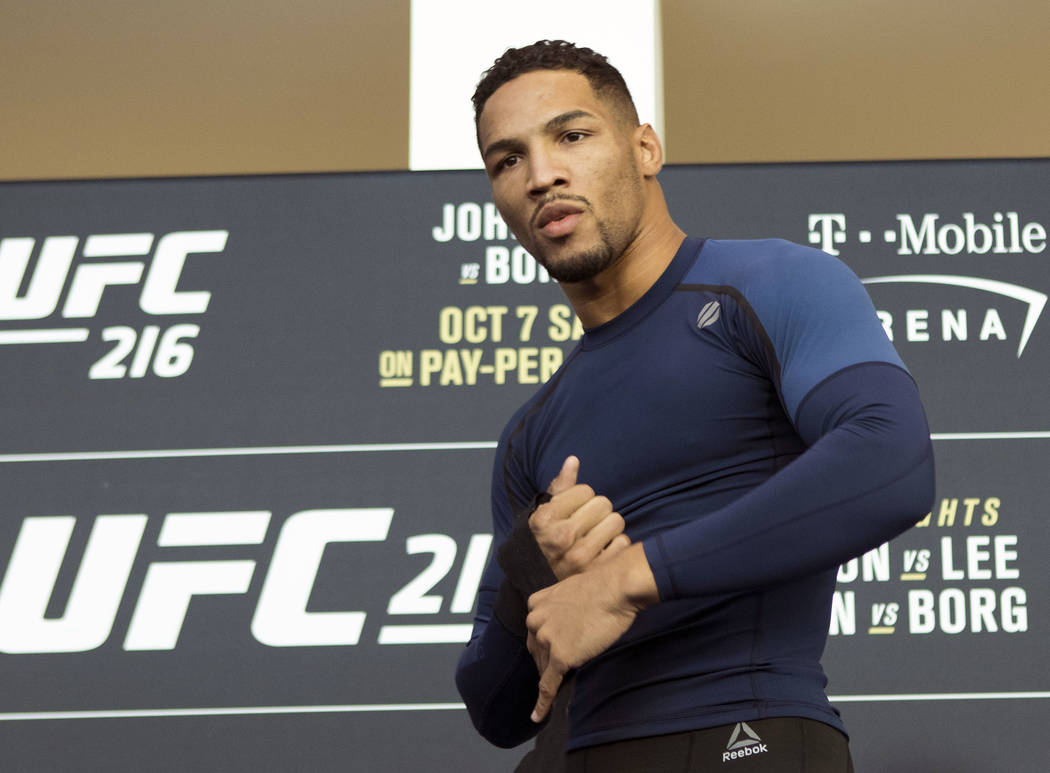 UFC lightweight contender Kevin Lee at the T-Mobile Arena for UFC 216 open workouts in Las Vegas, Thursday, Oct. 5, 2017. Heidi Fang Las Vegas Review-Journal @HeidiFang
