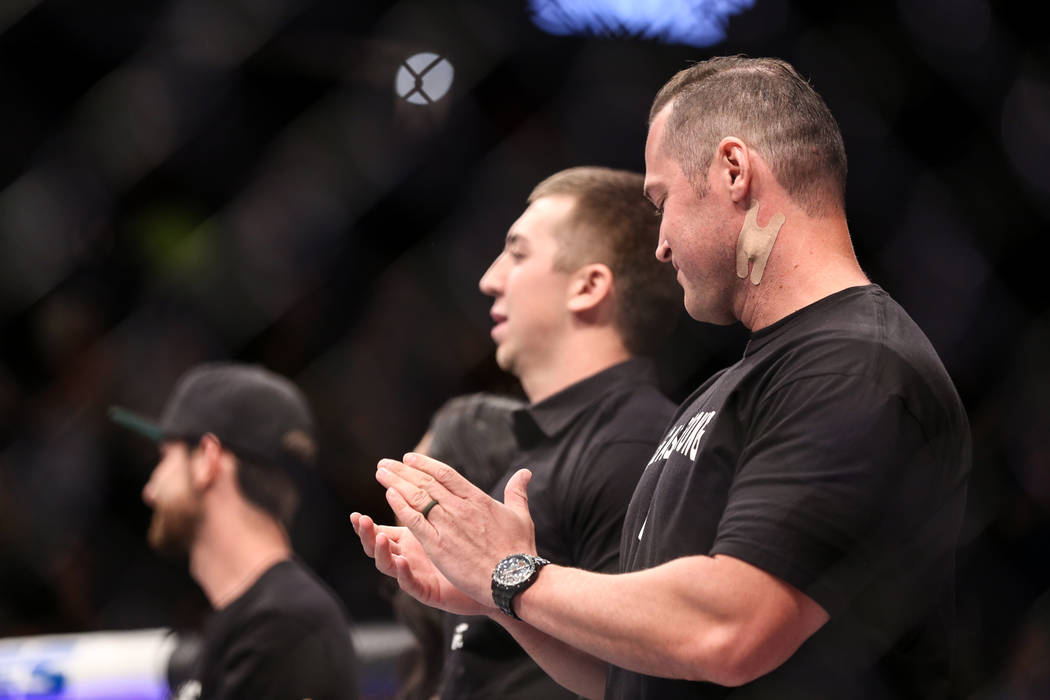 Detective Casey Clarkson is honored along with other victims from Sunday night's mass shooting during a ceremony at UFC 216 at T-Mobile Arena in Las Vegas, Saturday, Oct. 7, 2017. Joel Angel Juare ...