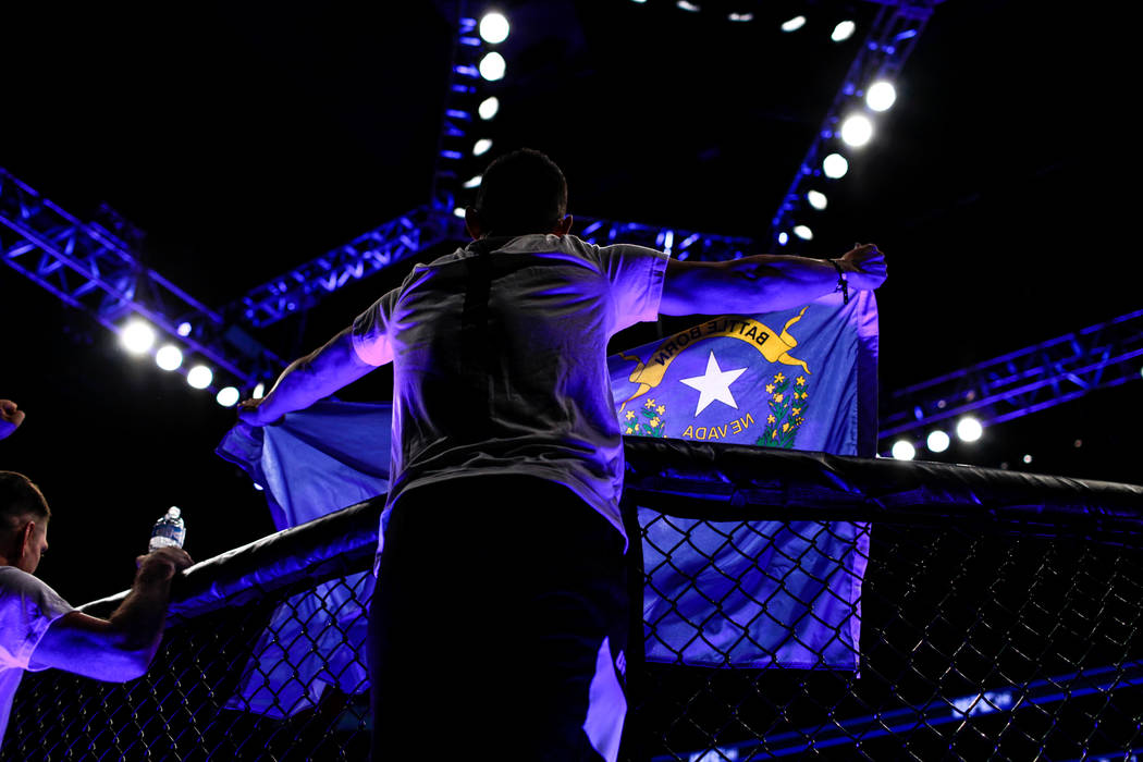 The Nevada state flag is presented during UFC 216 at T-Mobile Arena in Las Vegas, Saturday, Oct. 7, 2017. Joel Angel Juarez Las Vegas Review-Journal @jajuarezphoto