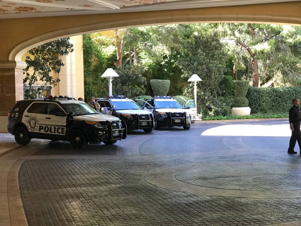 Las Vegas police vehicles are seen at Wynn Las Vegas on Tuesday, Oct. 3, 2017, in Las Vegas. Todd Prince/Las Vegas Review-Journal
