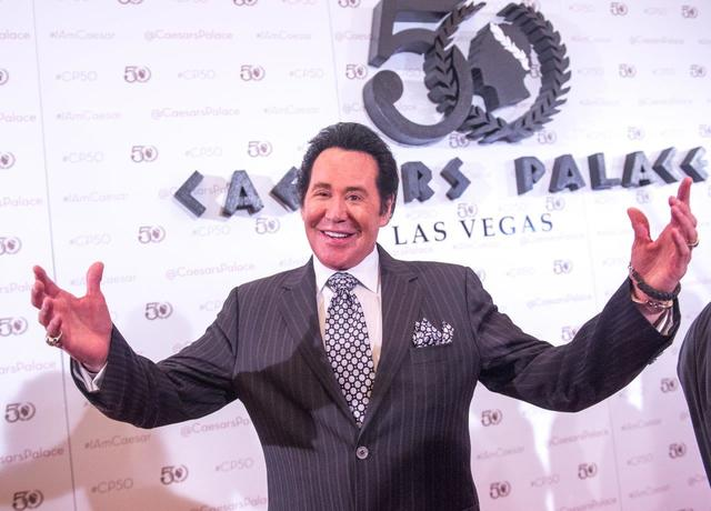 Bally's headliner Wayne Newton arrives at Caesars Palace's 50th anniversary celebration Saturday, Aug. 6, 2016, in Las Vegas. (Tom Donoghue)
