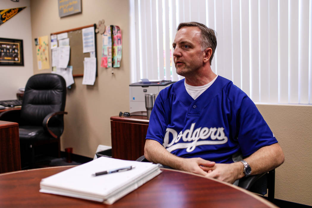 Principal Shawn Halland sits in his office during an interview at Sandra Lee Thompson Elementary in Las Vegas, Thursday, Oct. 5, 2017. The elementary school is one of two Clark County School Distr ...