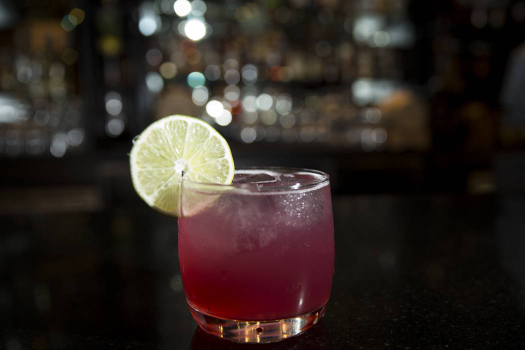 A Mexican Firing Squad cocktail served with Avion Tequila, lime juice, grenadine, angostura bitters and a lime wheel garnish at the Delano's Franklin Lounge in Las Vegas, Thursday, Sept. 21, 2017. ...