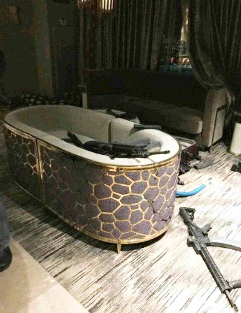 Weapons inside the room at Mandalay Bay where Stephen Paddock sprayed bullets down on the crowd at Route 91 Harvest festival on Sunday, Oct. 1, 2017 in Las Vegas. Build