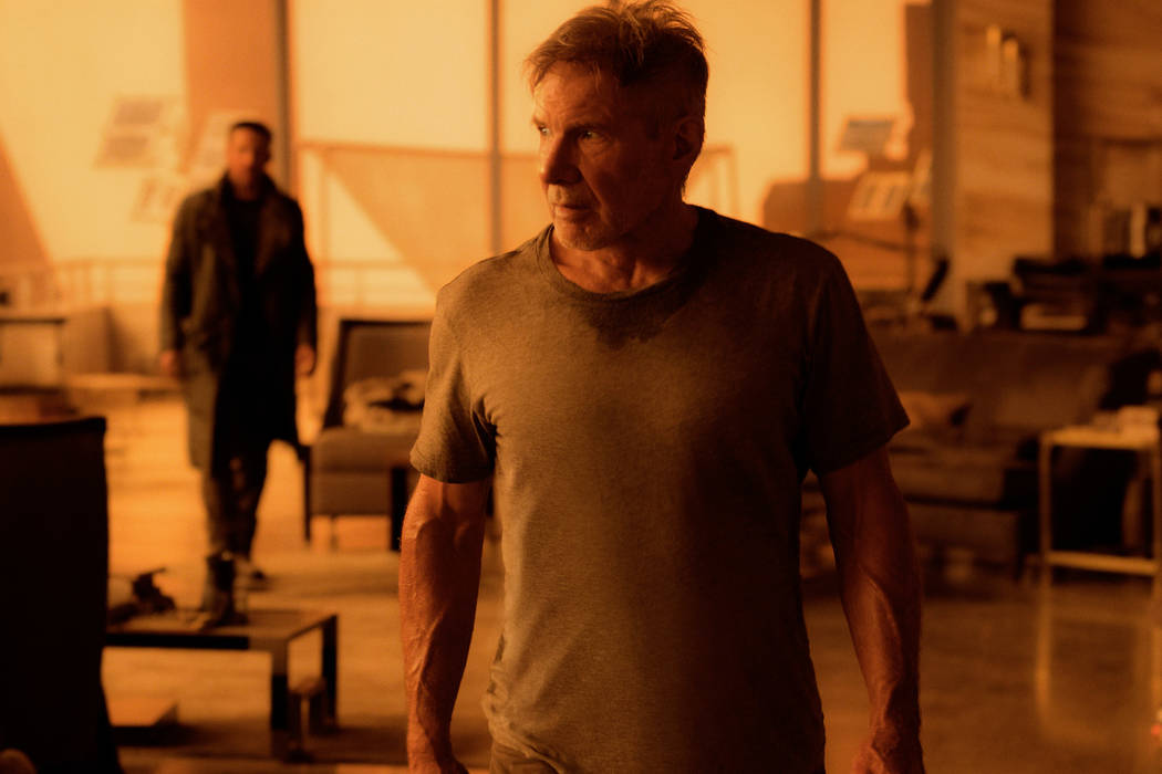 "Ryan Gosling as K and Harrison Ford as Rick Deckard in Alcon Entertainment's action thriller ""Blade Runner 2049,"" a Warner Bros. Pictures and Sony Pictures Entertainment release, domestic distribu ..."