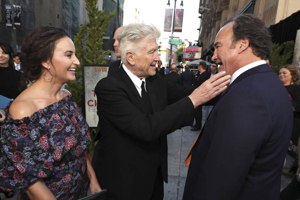 Emily Stofle, Creator/Executive Producer David Lynch and Jim Belushi pictured at Showtime's TWIN PEAKS premiere on Friday, May 19, 2017 in Los Angeles. (Photo by Eric Charbonneau/Invision for Show ...