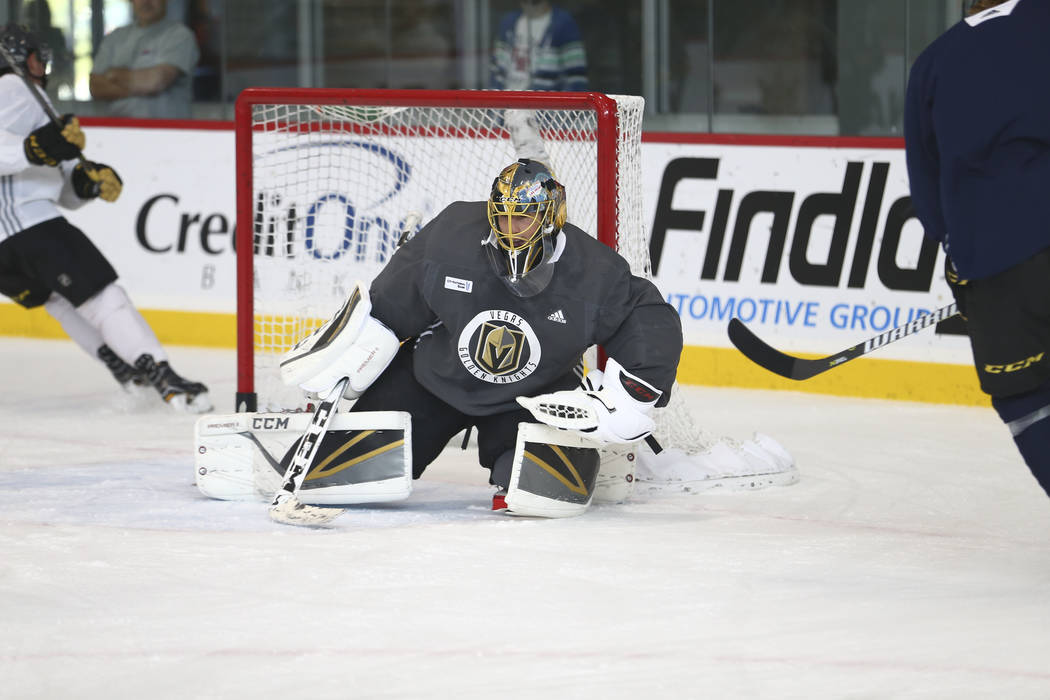 40d573937 Vegas Golden Knights goalie Marc-Andre Fleury (29) protects his net during  the