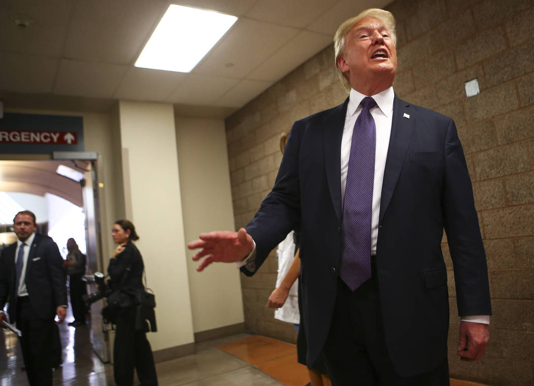 President Donald Trump after visiting victims at University Medical Center in Las Vegas on Wednesday, Oct. 4, 2017. A gunman opened fire on attendees of a music festival Sunday night, resulting in ...