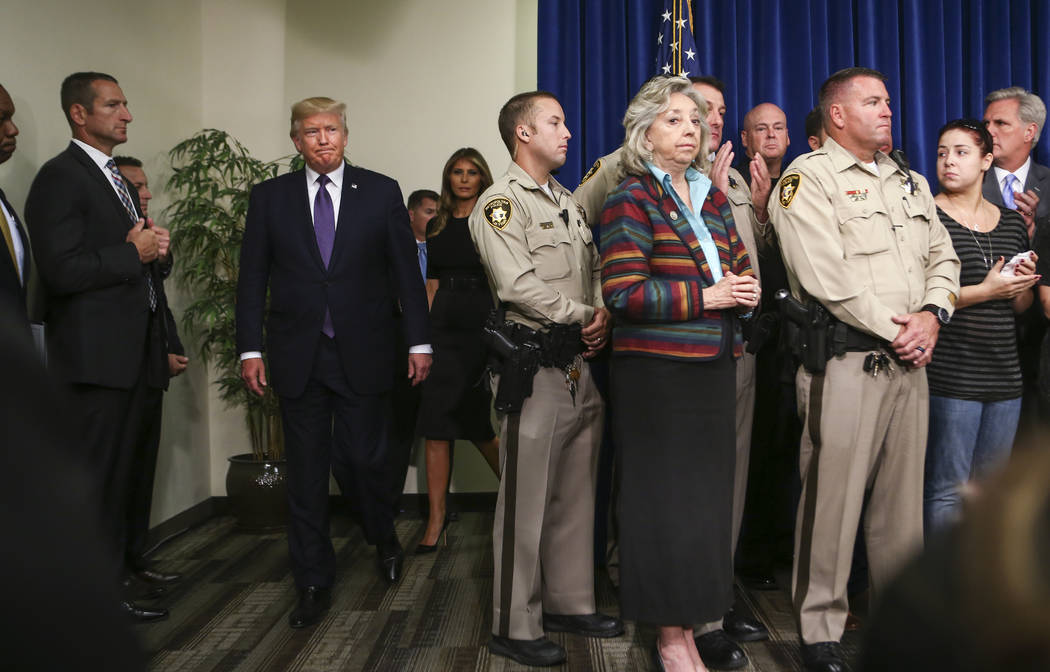 President Donald Trump at Metropolitan Police Department headquarters in Las Vegas on Wednesday, Oct. 4, 2017. A gunman opened fire on attendees of a music festival Sunday night, resulting in the  ...
