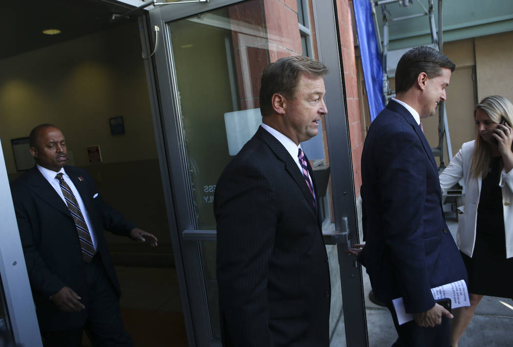 U.S. Sen. Dean Heller, R-Nev., at University Medical Center in Las Vegas on Wednesday, Oct. 4, 2017. A gunman opened fire on attendees of a music festival Sunday night, resulting in the death of 5 ...