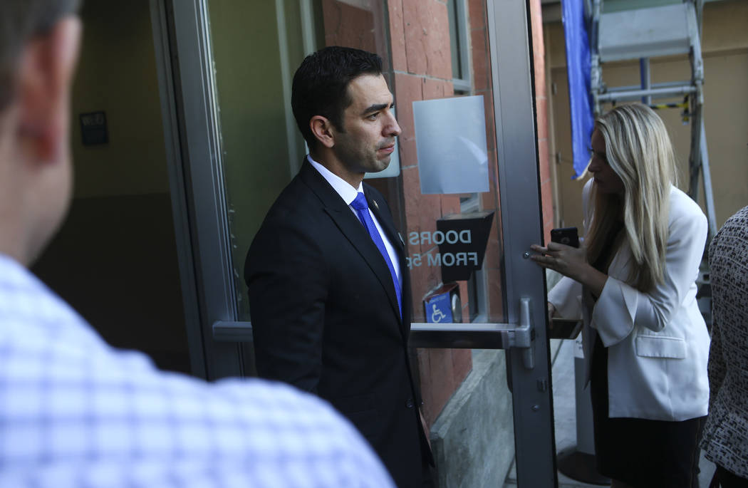 U.S. Rep. Ruben Kihuen, D-Nev., at University Medical Center in Las Vegas on Wednesday, Oct. 4, 2017. A gunman opened fire on attendees of a music festival Sunday night, resulting in the death of  ...