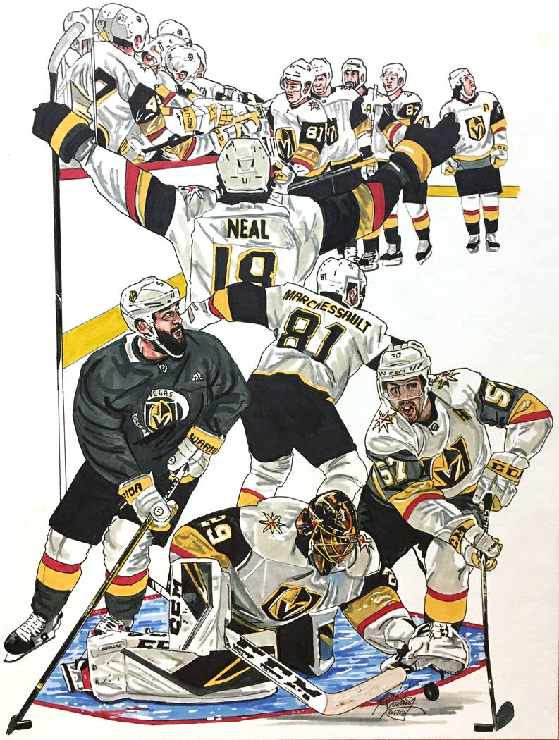 Las Vegas Golden Knights Hockey artwork. Neal Portnoy Las Vegas Review-Journal