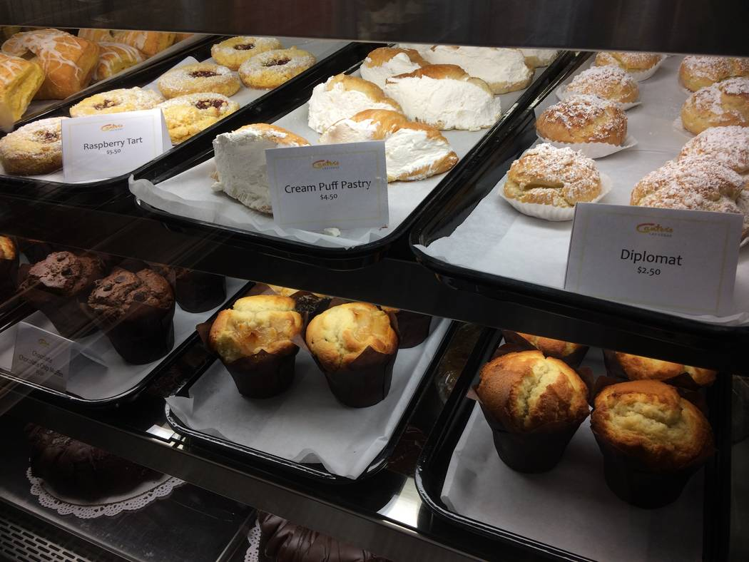 Baked goods are seen in their display cases Oct. 4, 2017, at Canter's Deli Las Vegas. The deli is the latest addition to  in Tivoli Village's lineup of eateries. The company has been around sinc ...