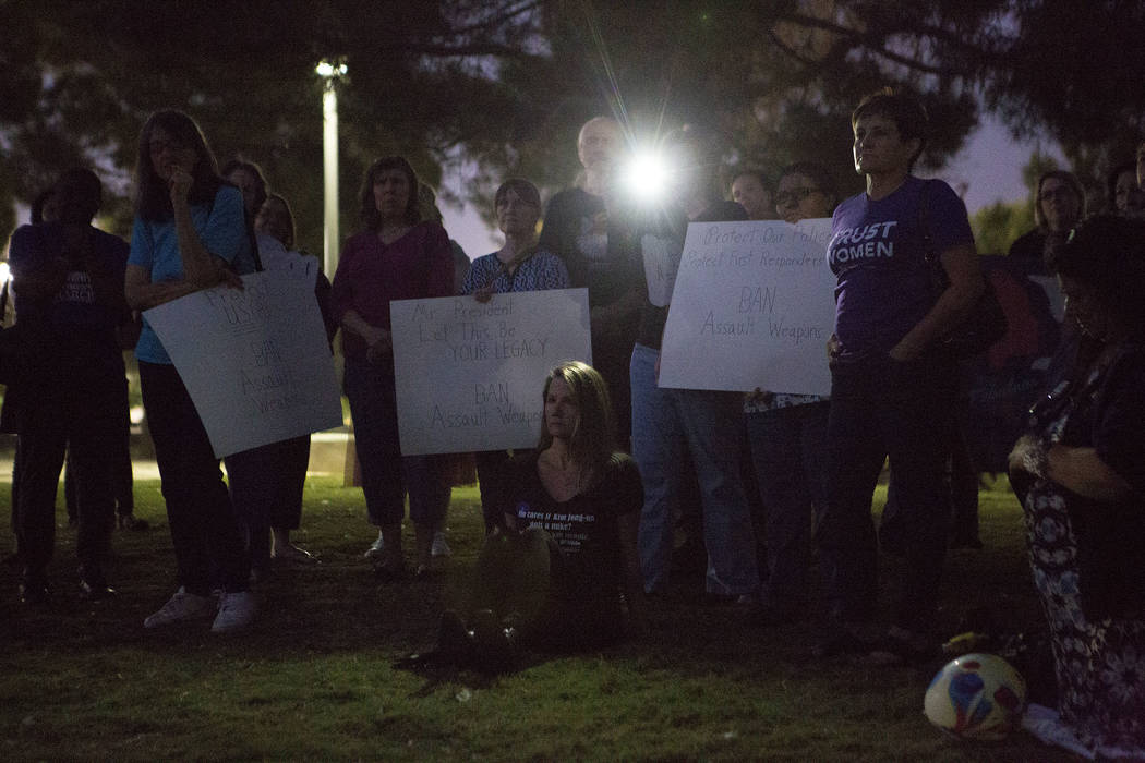 People gather to rally in support of gun regulation at Sunset Park hosted by Women's March on Washington - Nevada in Las Vegas, Wednesday, Oct. 4, 2017. Bridget Bennett Las Vegas Review-Journal @B ...