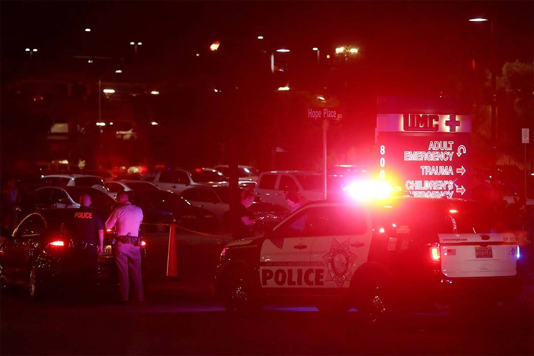 Officers are present outside University Medical Center's Trauma Center on Charleston Boulevard in Las Vegas, Sunday, Oct. 1, 2017. (Bridget BennettLas Vegas Review-Journal) @Bridgetkbennett