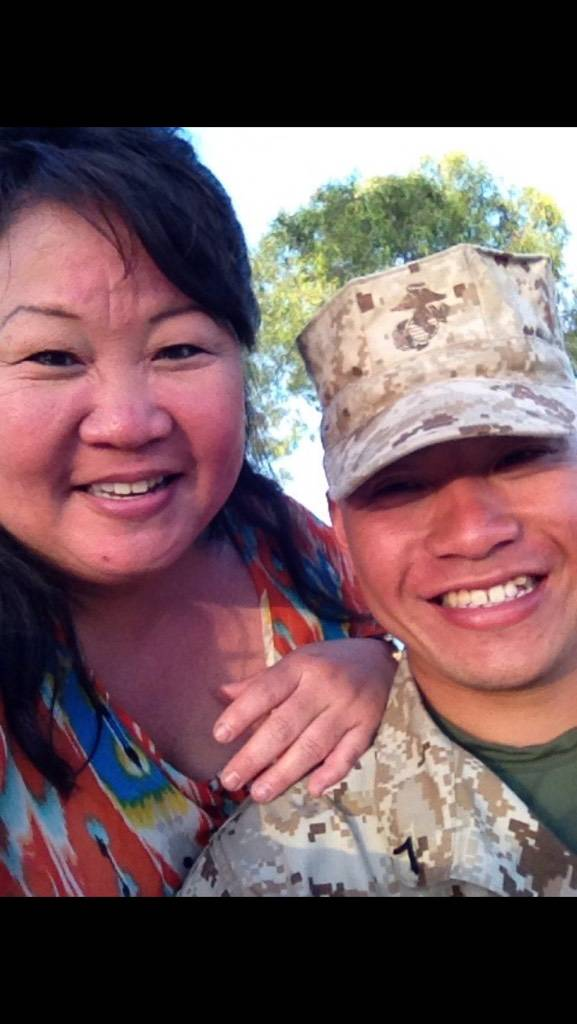 Laura Shipp, 50, of Las Vegas (on left) pictured with her son, Corey Shipp, 23, a Marine Reservist. (Steve Shipp)