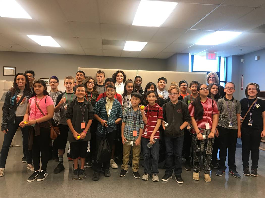 Molasky Junior High School students pose for a photo after a tour at Metl-Span on Oct. 4, 2017 at 4700 Engineers Way # 103. (Kailyn Brown/View) @KailynHype