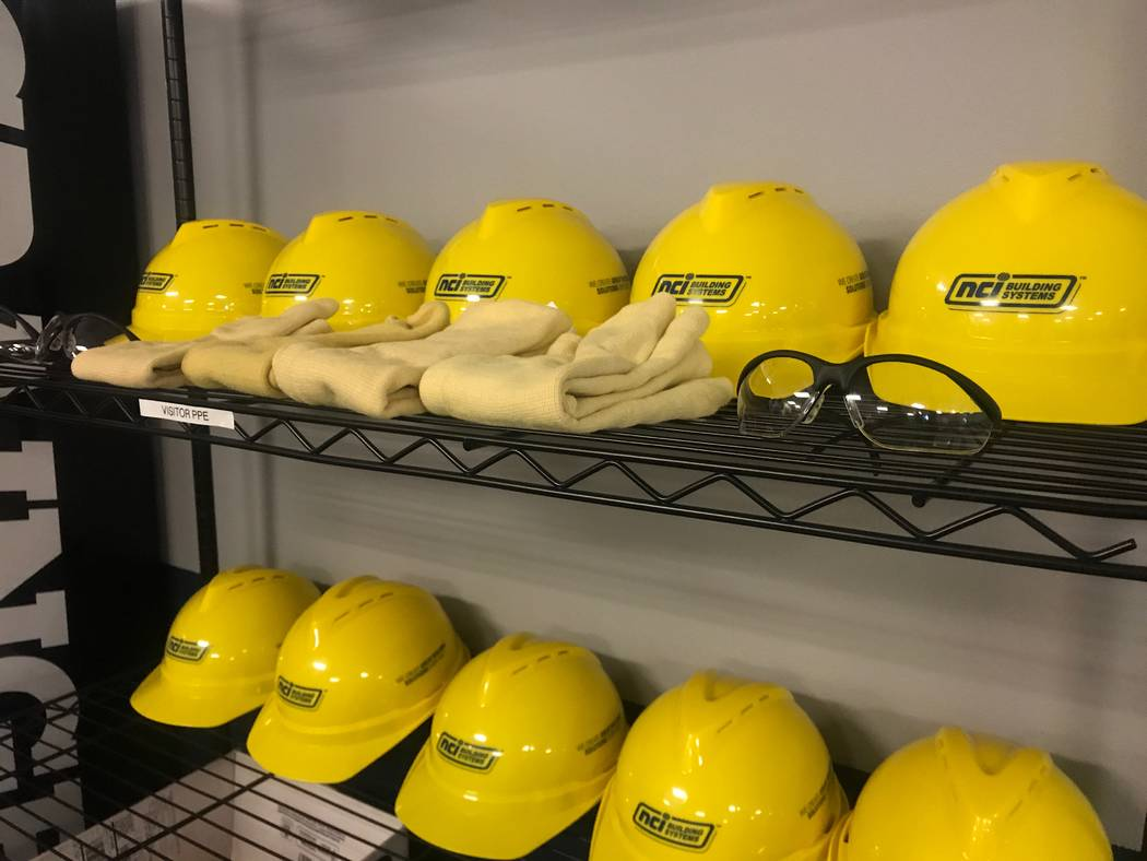 Hard hats are displayed at the Metl-Span building on Oct. 4, 2017 at 4700 Engineers Way # 103. (Kailyn Brown/View) @KailynHype
