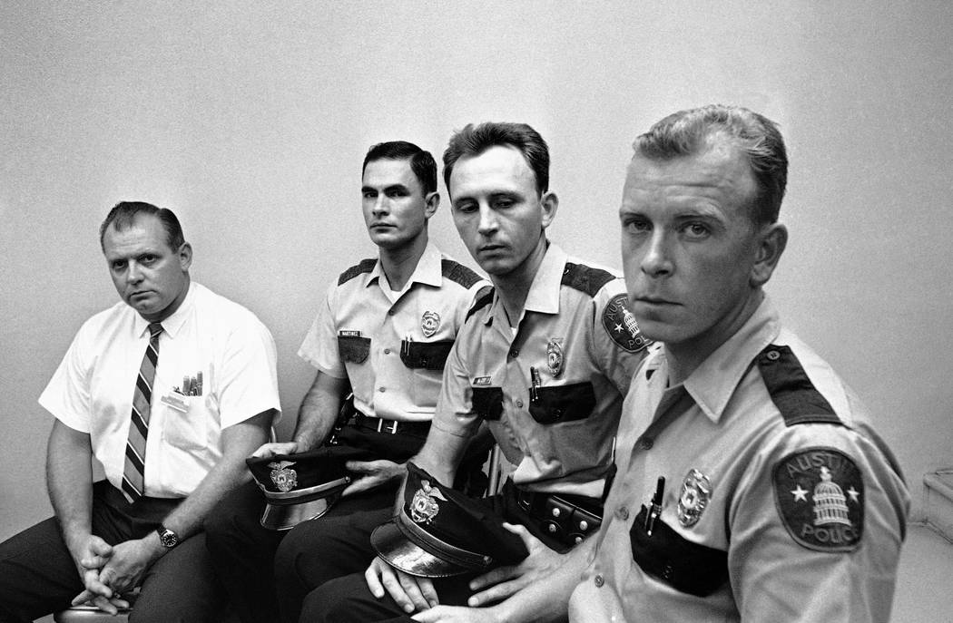 FILE - In this Aug. 2, 1966 file photo, from left, Allen Crum, university co-op employee; Austin policemen Ramiro Martinez, Houston McCoy and Jerry Day, the four men who braved the deadly accurate ...