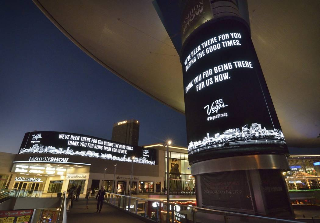 The iconic marquees of the Las Vegas Strip and throughout the Las Vegas Valley are displaying a message of strength, unity and gratitude in support of the destination. The digital signs on hotels  ...
