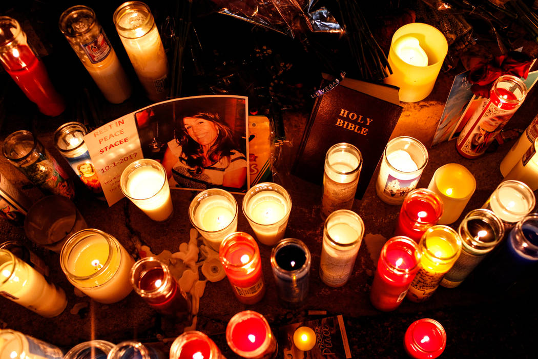 A vigil in remembrance of the mass shooting victims along The Strip nearby Mandalay Bay in Las Vegas, Thursday, Oct. 5, 2017. Joel Angel Juarez Las Vegas Review-Journal @jajuarezphoto