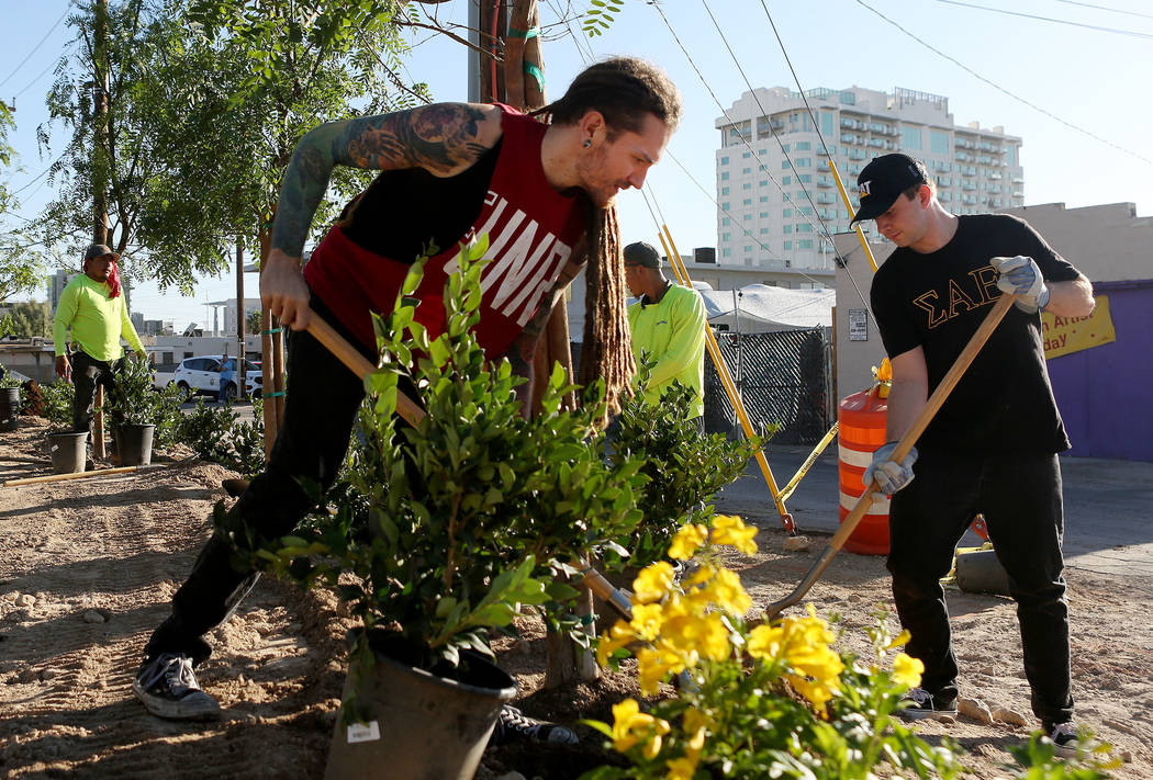 Volunteers Kelly Zurowski, left, and Jonah Hamelmann, help create the new permanent garden on East Charleston Blvd. and South Casino Center Blvd. in Las Vegas, Thursday, Oct. 5, 2017 as a memorial ...