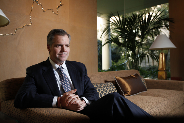 Jim Murren, chairman and CEO of MGM Resorts International, speaks with the Las Vegas Review-Journal at his office in the Bellagio in Las Vegas Tuesday, March 18, 2014. (John Locher/Las Vegas Revie ...