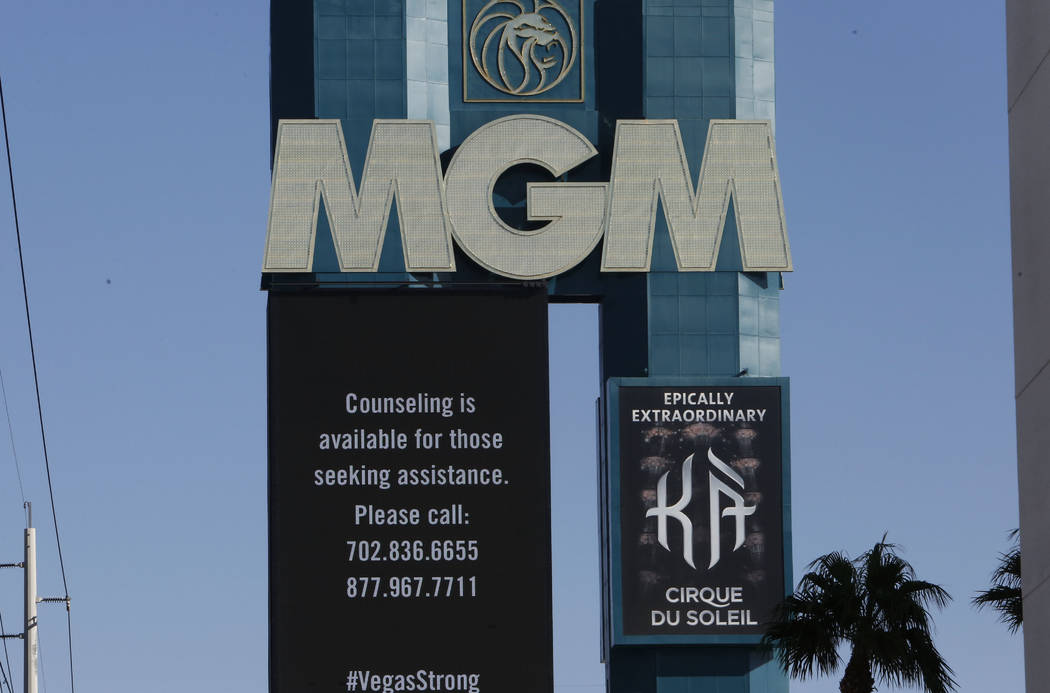 The marquee at the MGM Grand displays phone numbers for those seeking counseling to call in the aftermath of last Sunday night's mass shooting on Thursday, Oct. 5, 2017, in Las Vegas. Bizuayehu Te ...
