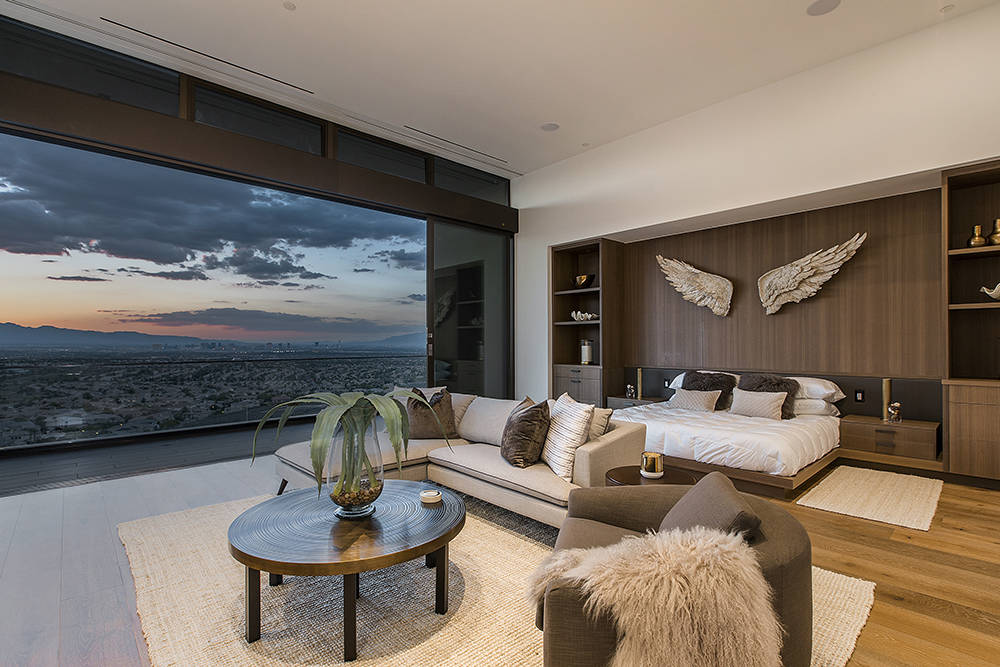 The master bedroom has views of the Las Vegas Valley. (Ascaya)