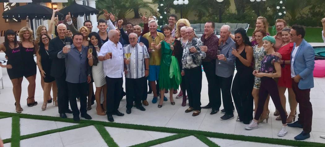 """A group shot of some of the guests at Frank Marino's home in Las Vegas on Sunday, Oct. 1, 2017 for the upcoming British TV series """"Last Laugh in Vegas,"""" focussing on eight British showbiz legends  ..."""