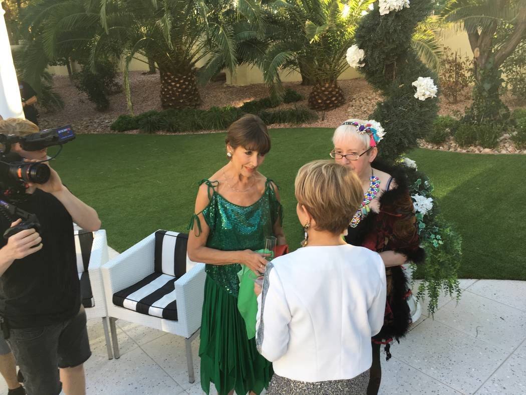 Las Vegas performer Pia Zadora is shown with British entertainers Anita Harris, left and Su Pollard a party at Frank Marino's home in Las Vegas on Sunday, Oct. 1, 2017 for the upcoming British TV  ...