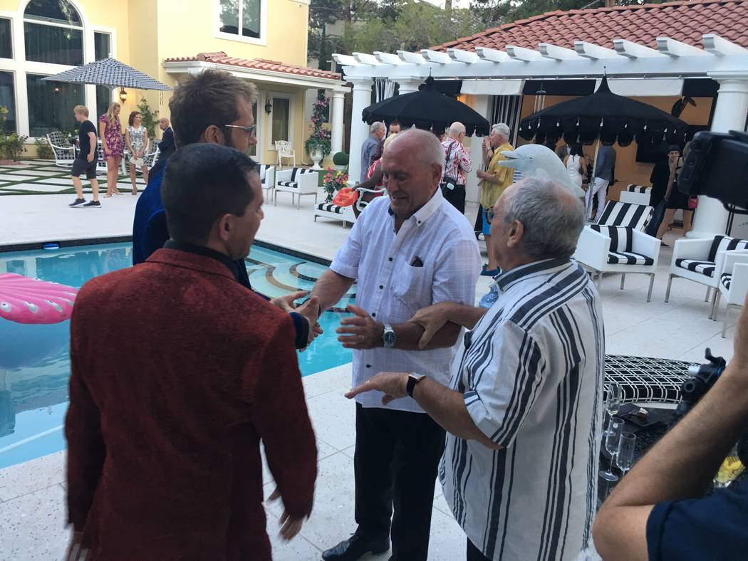 Tommy Cannon and Bobby Ball of the British comedy team Cannon & Ball meet Las Vegas performers Jarrett & Raja and at Frank Marino's home in Las Vegas on Sunday, Oct. 1, 2017 for the upcomi ...
