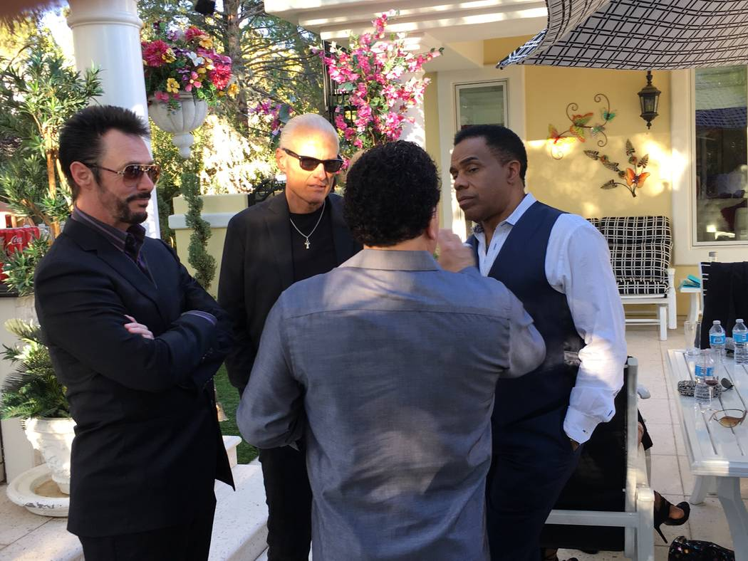 """Lance Burton, Blair Fairington, Earl Turner and Frankie Scinta are shown at Frank Marino's home in Las Vegas on Sunday, Oct. 1, 2017 for the upcoming British TV series """"Last Laugh in Vegas,"""" focus ..."""