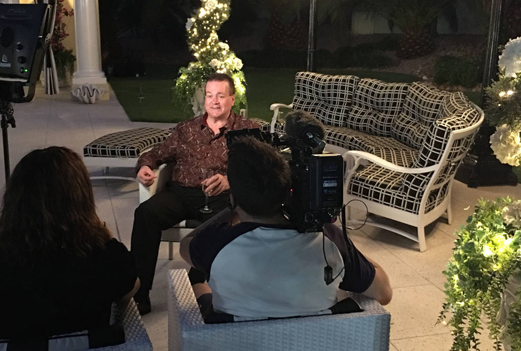"""British entertainer Bobby Crush is shown at Frank Marino's home in Las Vegas on Sunday, Oct. 1, 2017 for the upcoming British TV series """"Last Laugh in Vegas,"""" focussing on eight  ..."""
