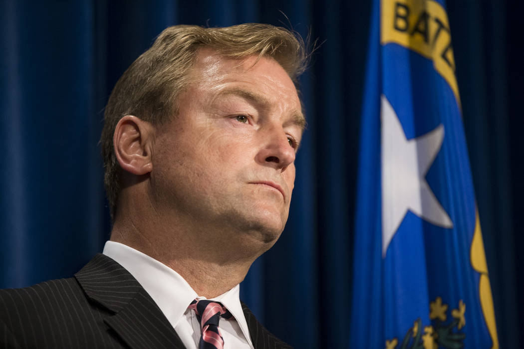 U.S. Sen. Dean Heller, D-Nev., during a press conference on the mass shooting, at the Las Vegas Metropolitan Police Department headquarters in Las Vegas, Wednesday Oct. 4, 2017. Erik Verduzco/Las  ...