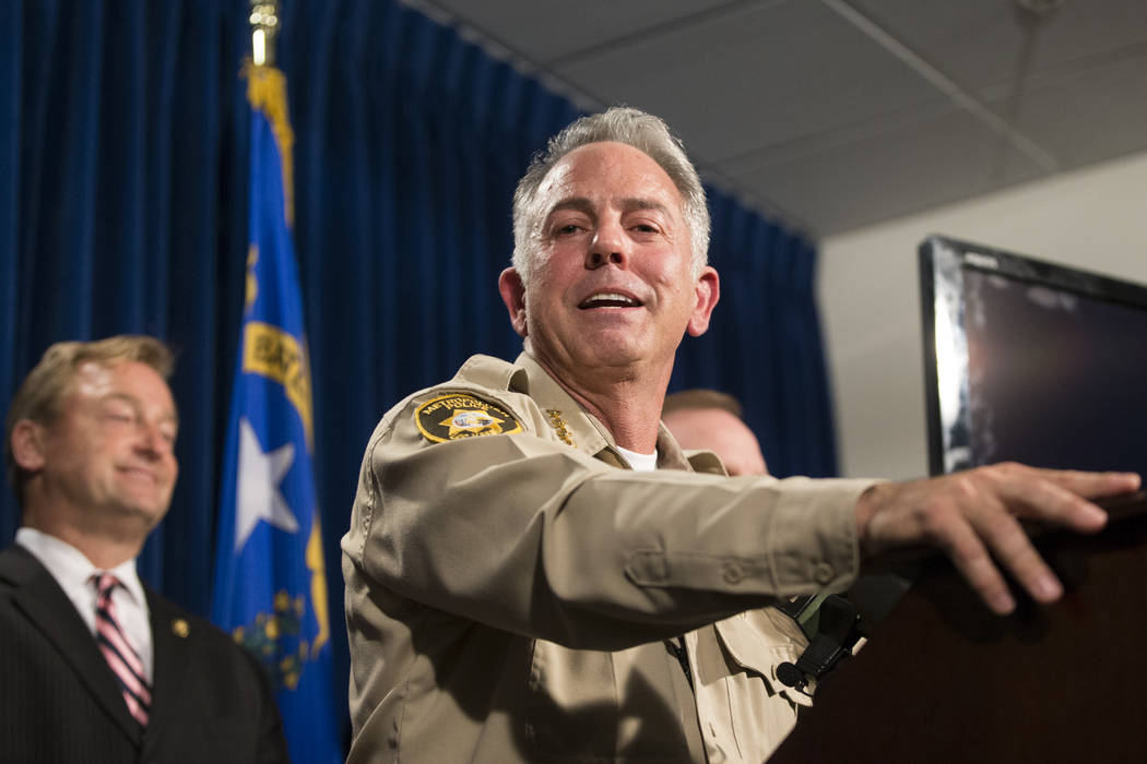 Clark County Sheriff Joe Lombardo discusses the mass shooting during a press conference at the Las Vegas Metropolitan Police Department headquarters in Las Vegas, Wednesday, Oct. 4, 2017. Erik Ver ...