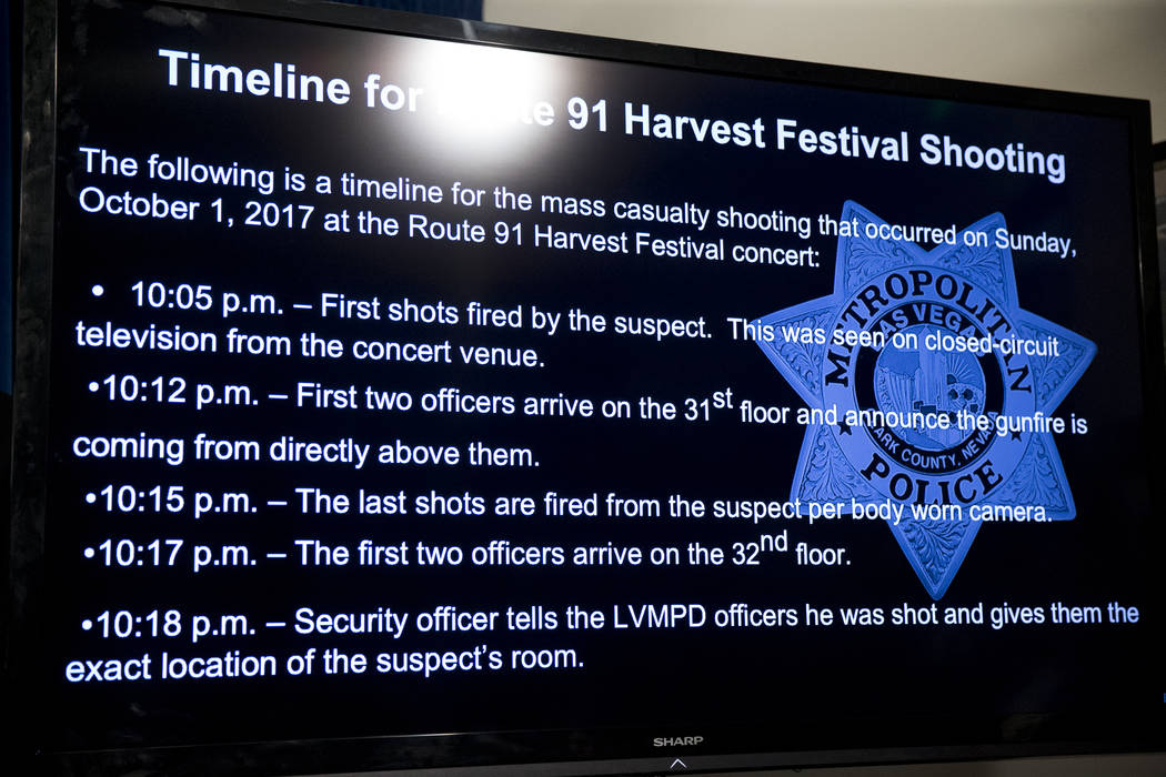 The first timeline is released during a press conference on the mass shooting, at the Las Vegas Metropolitan Police Department headquarters in Las Vegas, Wednesday Oct. 4, 2017. Erik Verduzco/Las  ...
