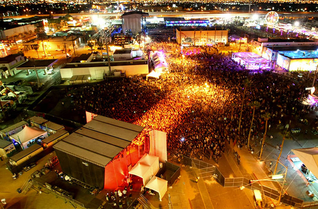 A view of the Life Is Beautiful festival from the Ogden in downtown Las Vegas. (Michael Quine/Las Vegas Review-Journal)
