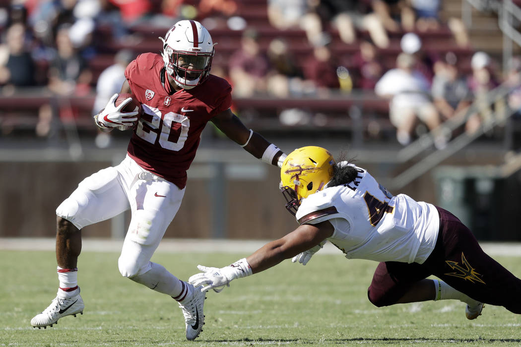 Stanford running back Bryce Love runs against Arizona State during the second half of an NCAA college football game Saturday, Sept. 30, 2017, in Stanford, Calif. (AP Photo/Marcio Jose Sanchez)