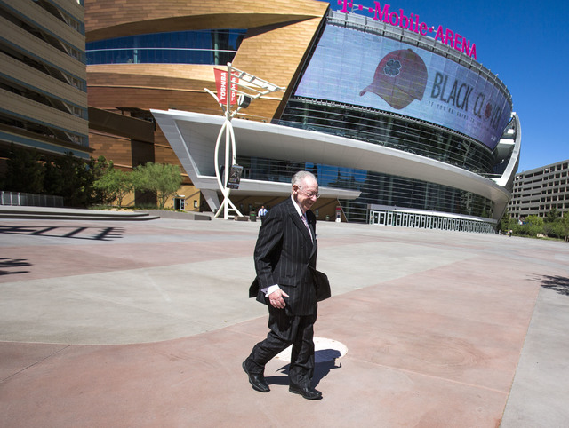 Former Las Vegas Mayor Oscar Goodman walks near T-Mobile Arena on Friday, June 17, 2016.  Goodman helped plant the seeds for an NHL team when he met with the league back in 1999. Jeff Scheid/Las V ...