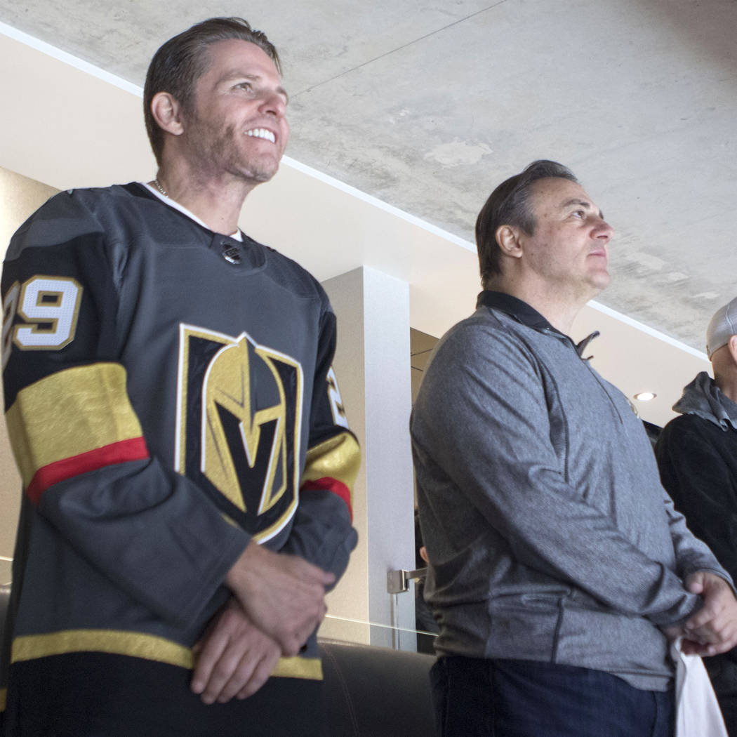 The minority owners of the Vegas Golden Knights, Joe Maloof, left, and Gavin Maloof, watch the team compete at the season home opener at the T-Mobile Arena in Las Vegas, Tuesday, Oct. 10, 2017. He ...