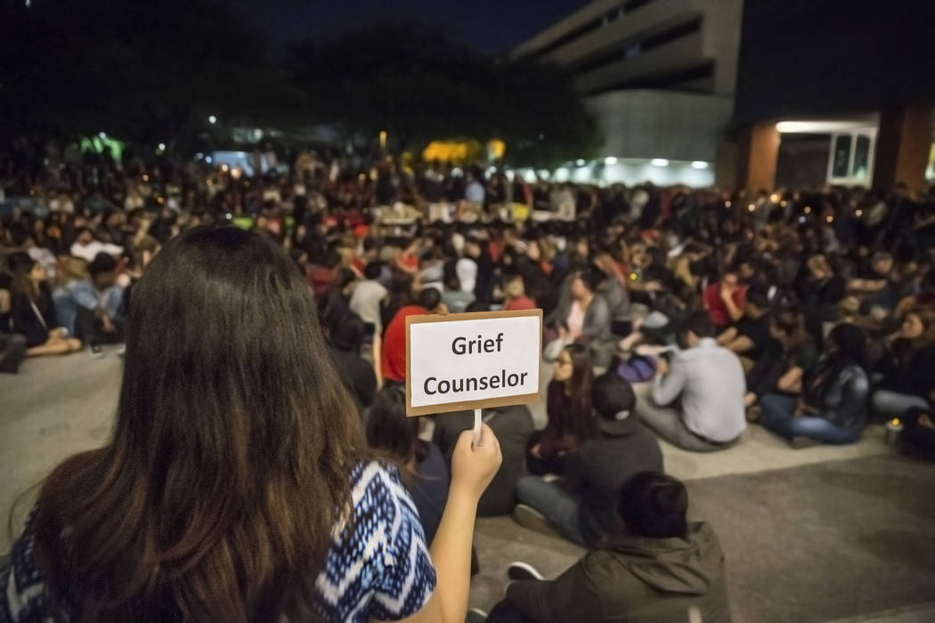 Grief counselors were available for attendees of a vigil for the shooting victims of the Route 91 country music festival on Monday, October 2, 2017, at the Student Union courtyard, at UNLV, in Las ...