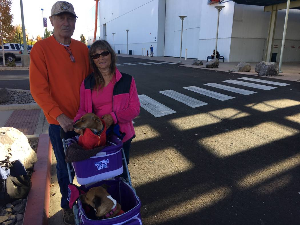 Sherei' and Bob Williams, along with their two rescue dogs Pistol and Bullit, talk about the horrific Las Vegas mass shooting of Oct. 1 before making their way into the Crossroads of the West Gun  ...