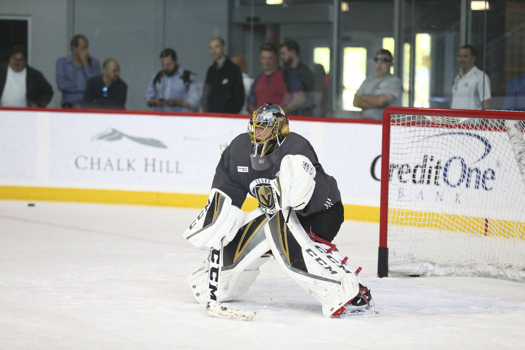 Vegas Golden Knights goalie Marc-Andre Fleury (29) protects his net during the NHL team's practice at the City National Arena in Las Vegas, Wednesday, Oct. 4, 2017. Richard Brian Las Vegas Review- ...