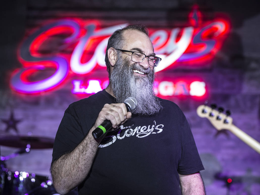 Stoney's Rockin' Country owner Chris Lowden shares a laugh with the crowd during a benefit show for the victims of the Route 91 shooting on Wednesday, October 4, 2017, in Las Vegas. (Benjamin Hage ...