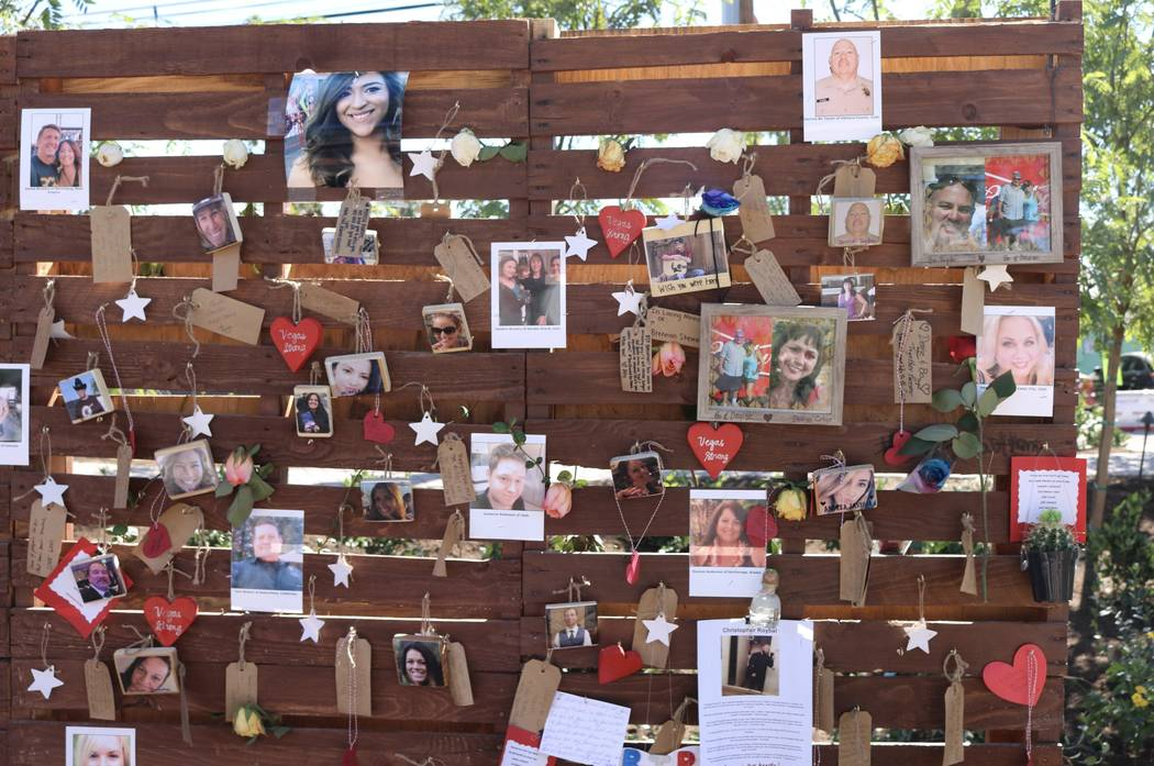 "The ""Remembrance Wall"" at the Community Healing Garden in Las Vegas, Saturday, Oct. 7, 2017. The city of Las Vegas dedicated the new healing garden to victims of Sunday's shooting. Gilbert Manzano ..."